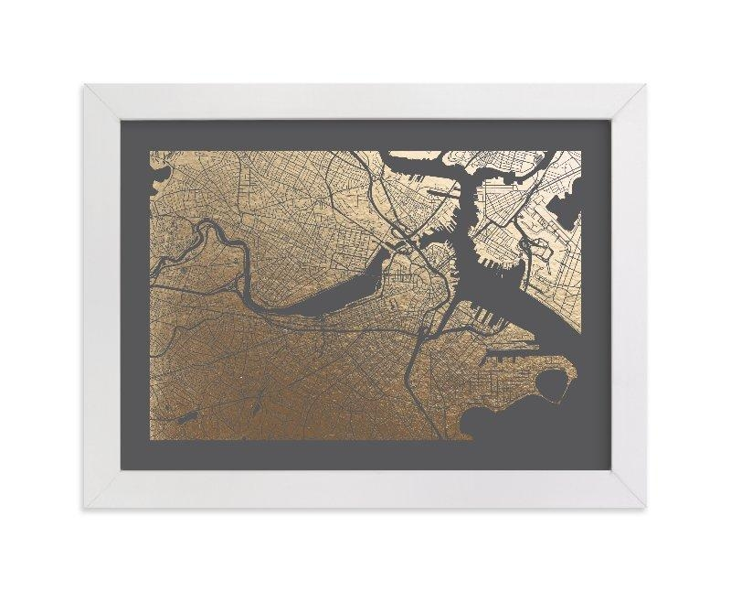 Boston Map Foil Pressed Wall Artalex Elko Design | Minted In Boston Map Wall Art (Image 11 of 20)
