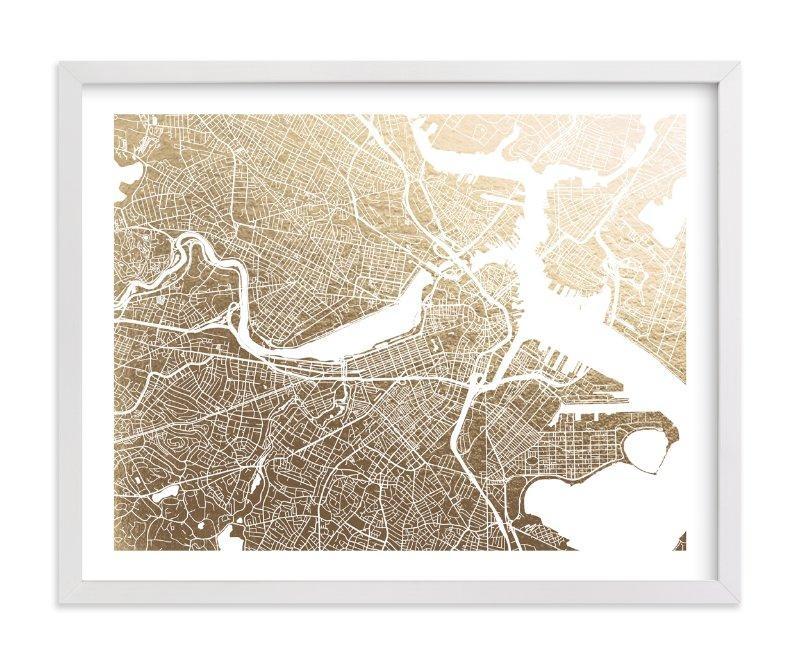 Boston Map Foil Pressed Wall Artalex Elko Design | Minted Throughout Boston Map Wall Art (View 17 of 20)