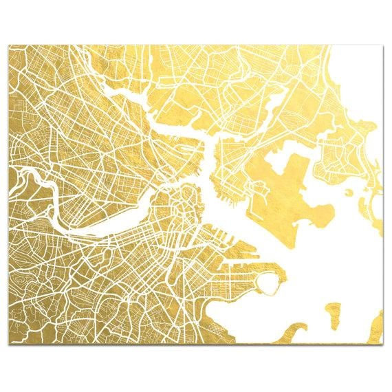 Boston Map Gold Foil Print Boston Wall Art Gold Foil Map Inside Boston Map Wall Art (Image 13 of 20)