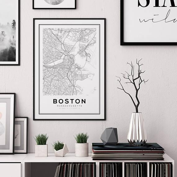 Boston Map Print City Map Decor City Map Wall Art Within Boston Map Wall Art (Image 14 of 20)
