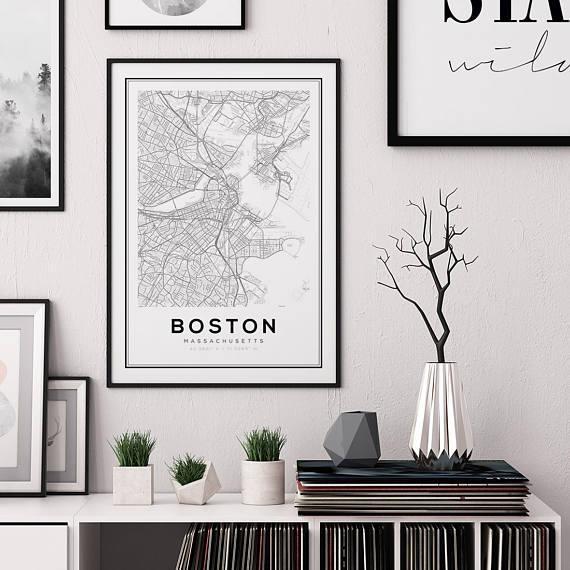 Boston Map Print City Map Decor City Map Wall Art Within Boston Map Wall Art (View 5 of 20)