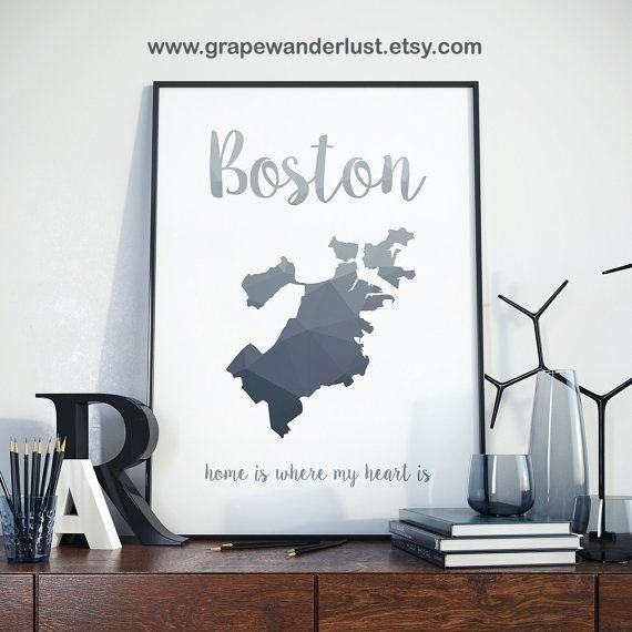 Boston Wall Art Boston Map Wall Art – Bearister Regarding Boston Map Wall Art (Image 16 of 20)