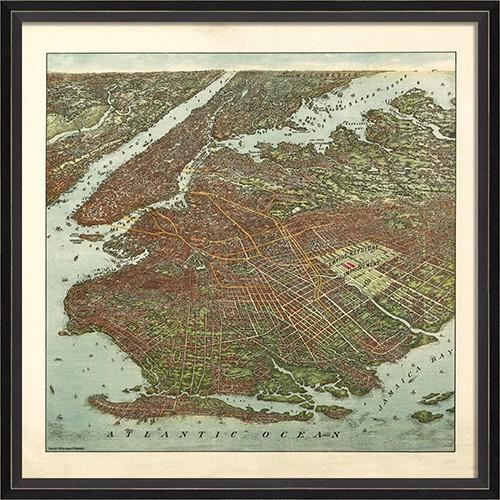 Brooklyn Map 1908 Framed Wall Artspicher And Company In Brooklyn Map Wall Art (Image 3 of 20)
