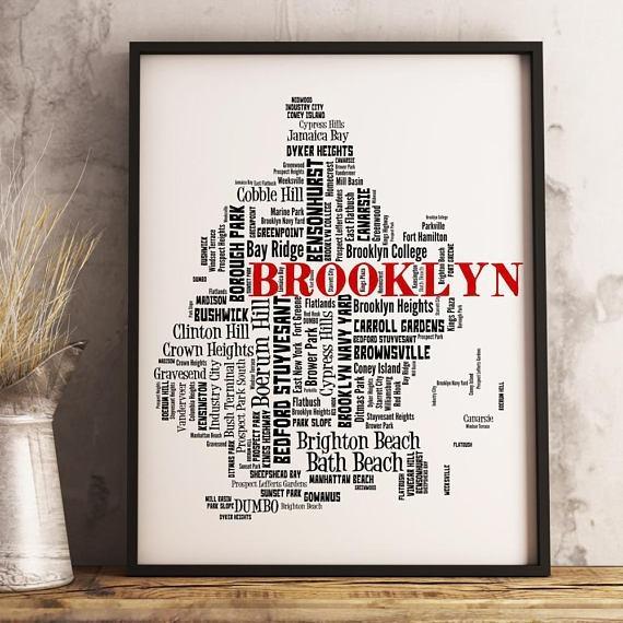 Brooklyn Map Art Brooklyn Art Print Brooklyn Neighborhood With Regard To Brooklyn Map Wall Art (Image 4 of 20)