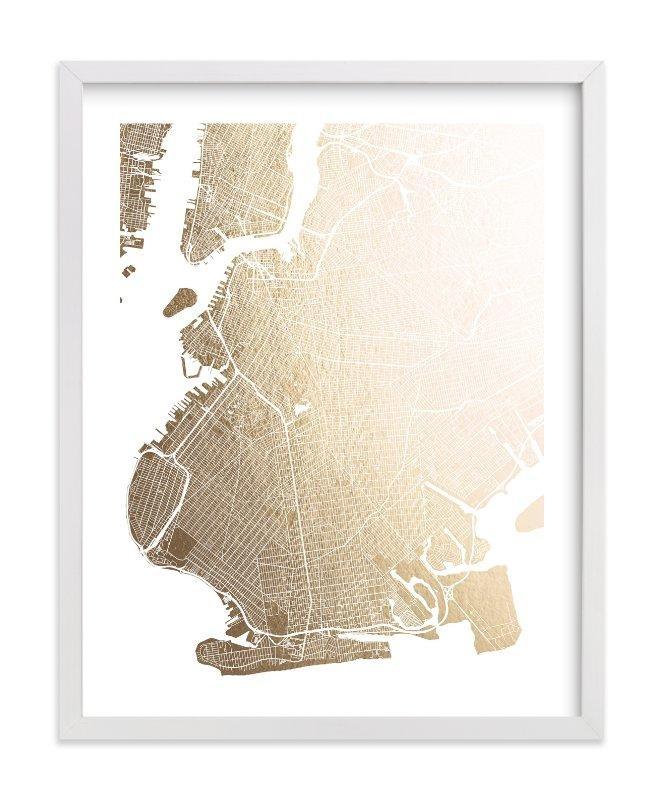 Brooklyn Map Foil Pressed Wall Artalex Elko Design | Minted In Brooklyn Map Wall Art (View 9 of 20)