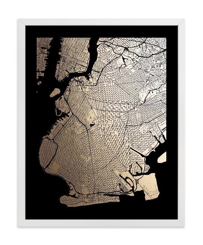 Brooklyn Map Foil Pressed Wall Artalex Elko Design | Minted Pertaining To Brooklyn Map Wall Art (Image 6 of 20)