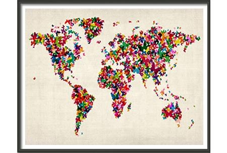 Butterflies Art Map Of The World – Large, Am927A, Maps International Pertaining To Butterfly Map Wall Art (Image 8 of 20)