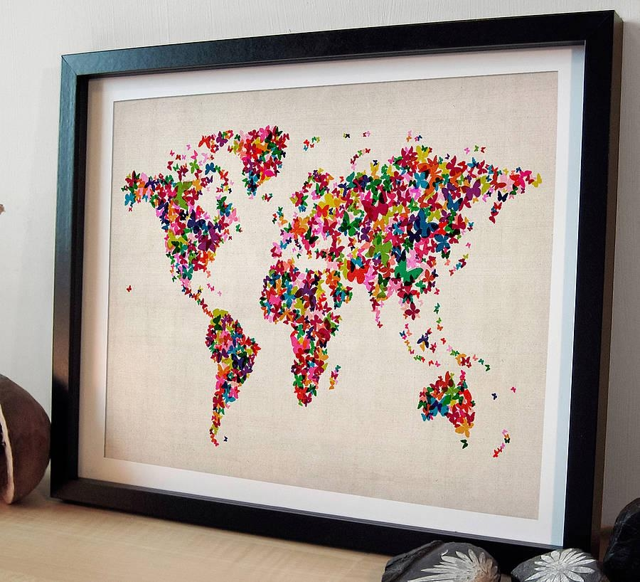 Butterflies Map Of The World Art Printartpause With Regard To Butterfly Map Wall Art (Image 9 of 20)