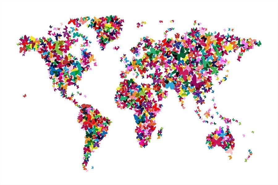 Butterflies Map Of The World Digital Artmichael Tompsett Inside Butterfly Map Wall Art (Image 10 of 20)