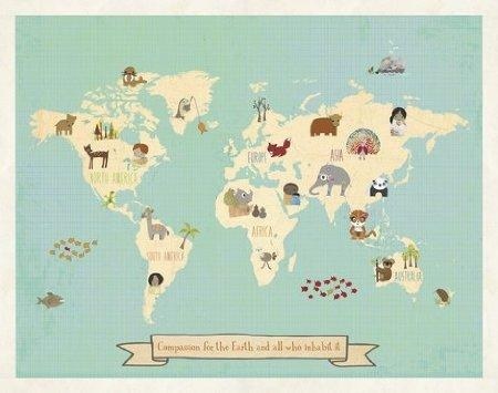 Buy Global Compassion World Map 24X18 Print Childrens Wall Art Map With World Map Wall Art For Kids (View 8 of 20)