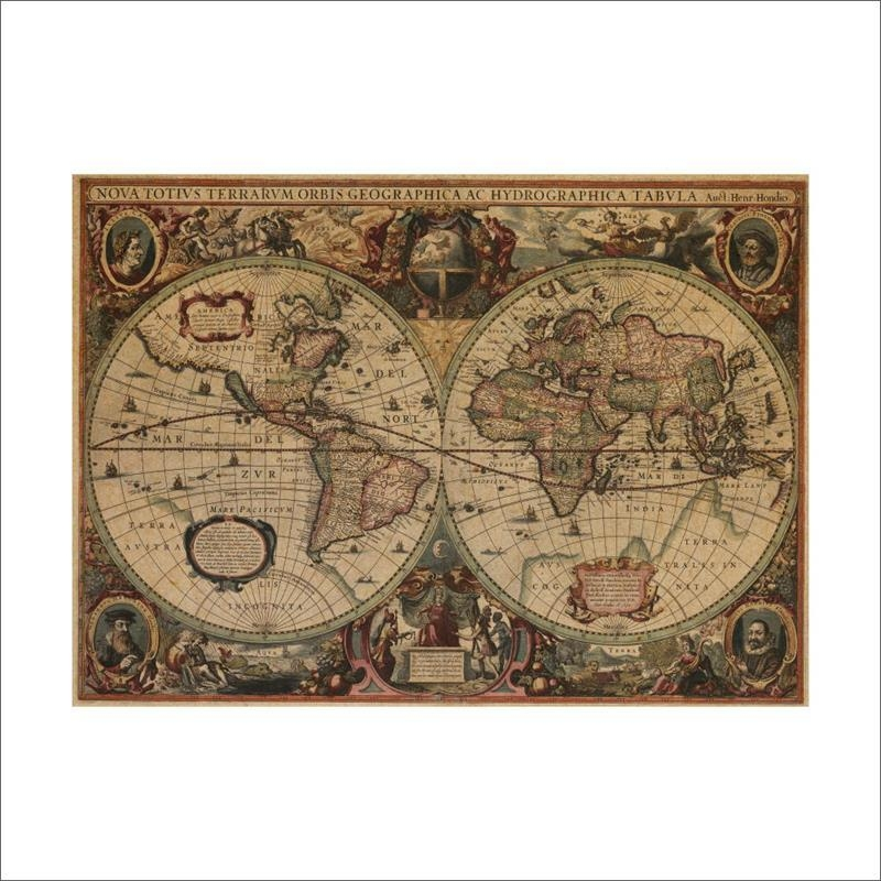 Buy Vintage Nautical Charts And Get Free Shipping On Aliexpress Inside Nautical Map Wall Art (View 7 of 20)