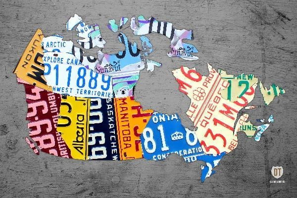 Canada License Plate Map On Gray Mixed Mediadesign Turnpike With Regard To License Plate Map Wall Art (Image 2 of 20)