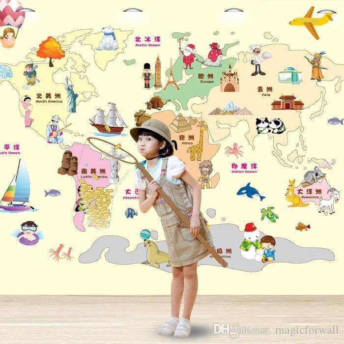 Cartoon World Map Wall Art Decor Kids Learning Living Room With World Map Wall Art For Kids (Image 4 of 20)