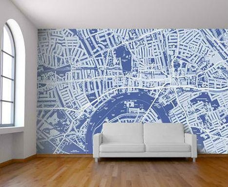 Celebrate Cities With Customizable Map Wallpaper Intended For City Map Wall Art (View 5 of 20)