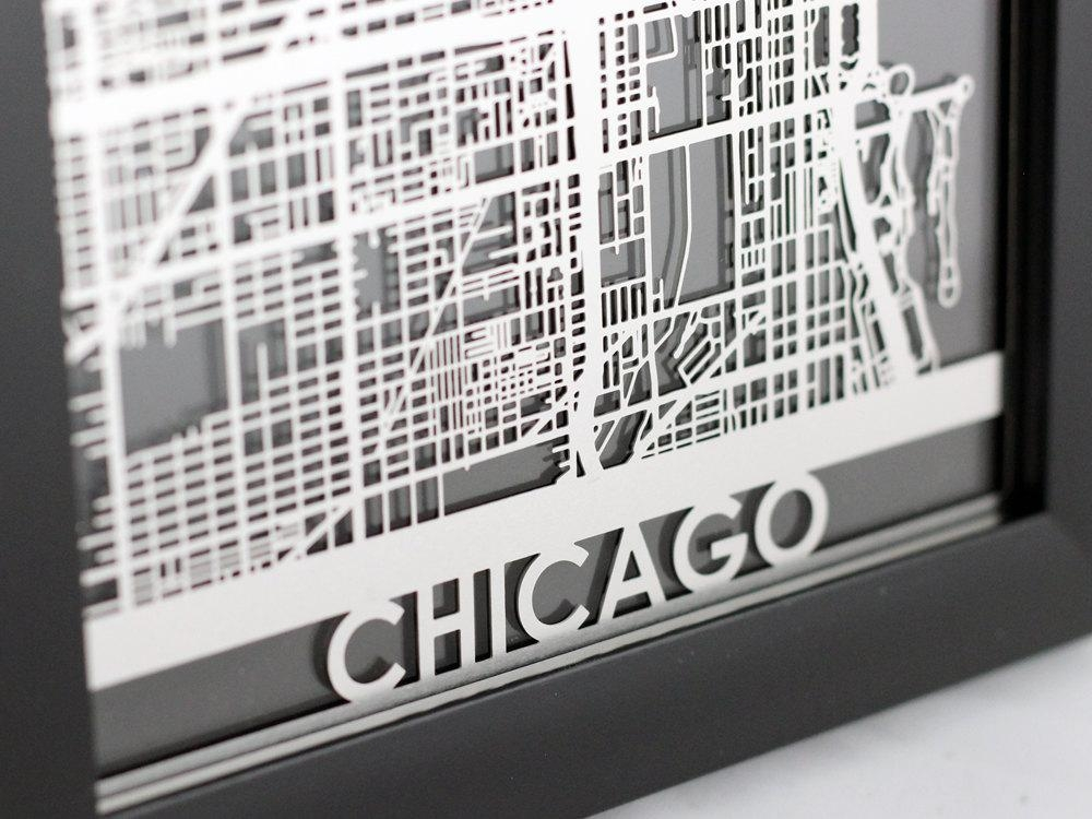 Chicago Illinois Stainless Steel Laser Cut Map 5X7 With Chicago Map Wall Art (Image 5 of 20)
