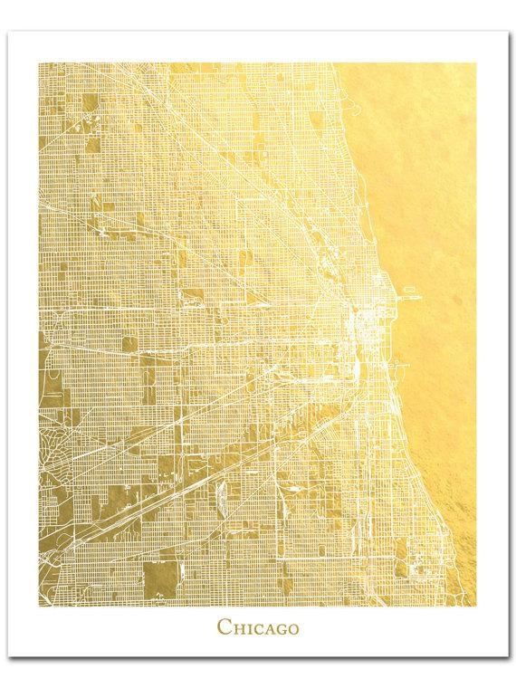 Chicago Map Chicago Print Gold Foil Print Gold Foil Map™ With Regard To Houston Map Wall Art (Image 12 of 20)