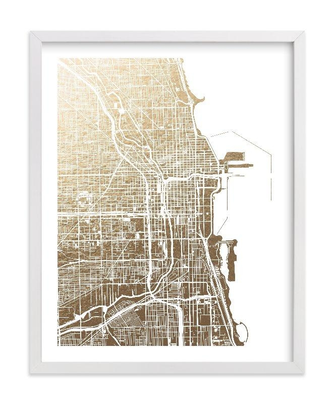 Chicago Map Foil Pressed Wall Artalex Elko Design | Minted In Chicago Map Wall Art (View 2 of 20)