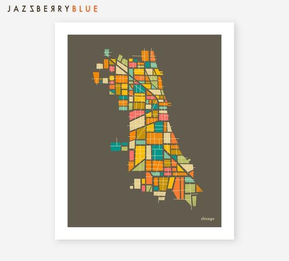 Chicago Map Giclee Fine Art Print Modern Minimal Wall Art Throughout Chicago Map Wall Art (Image 10 of 20)