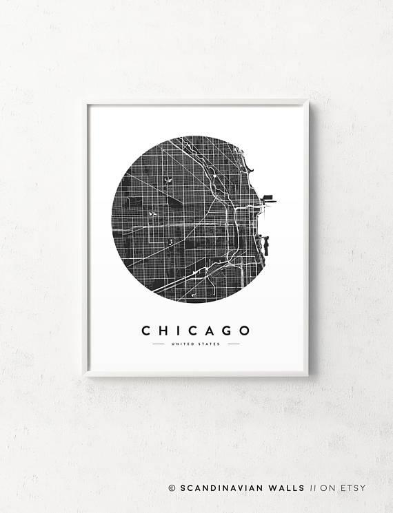 Chicago Map Print Chicago Poster Chicago Print Chicago City Pertaining To Chicago Map Wall Art (View 7 of 20)
