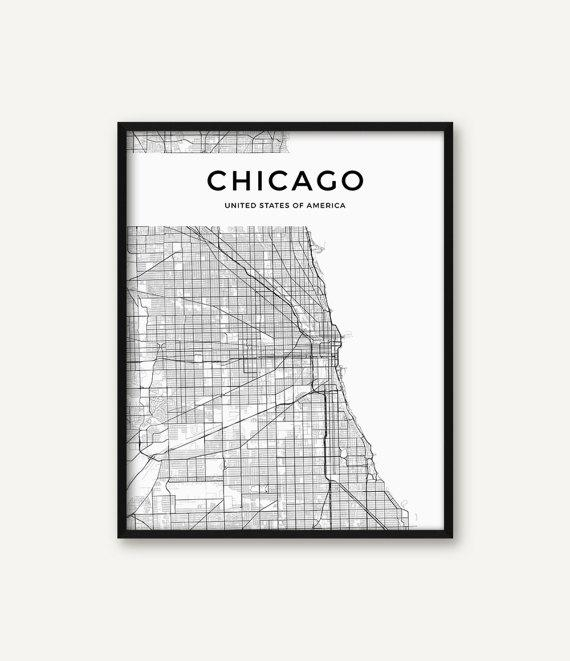 Chicago Map Print Chicago Print Black And White Chicago Wall Throughout Chicago Map Wall Art (Image 12 of 20)
