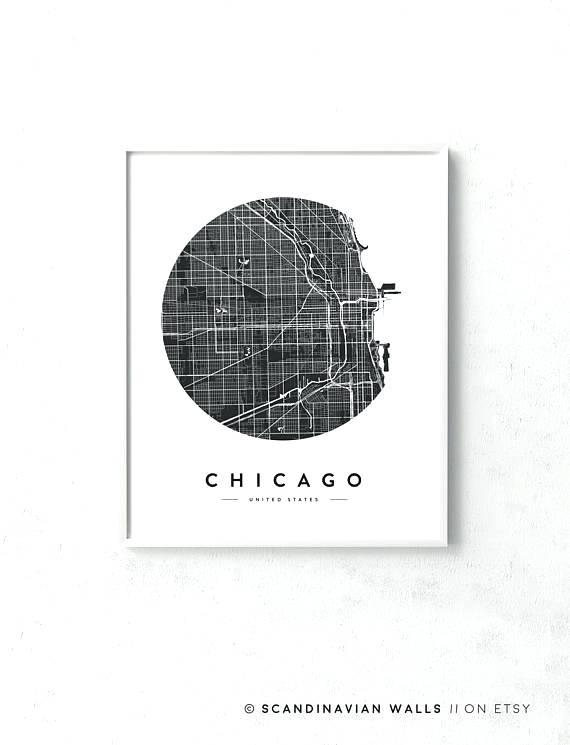 Chicago Map Wall Art A Chicago Neighborhood Map Wall Art With Chicago Neighborhood Map Wall Art (Image 4 of 20)