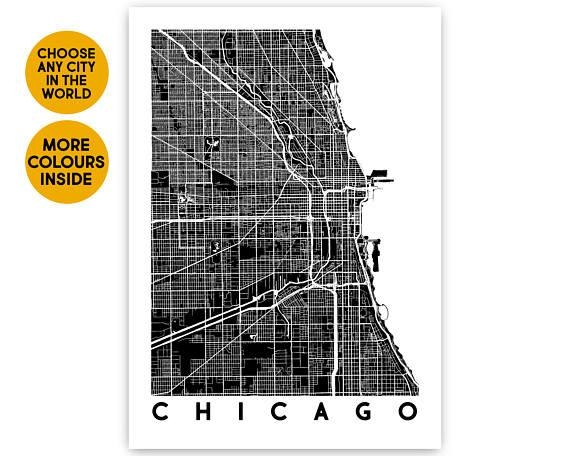 Chicago Map Wall Art Custom Map Print Travel Gift City Map Throughout Chicago Map Wall Art (Image 14 of 20)