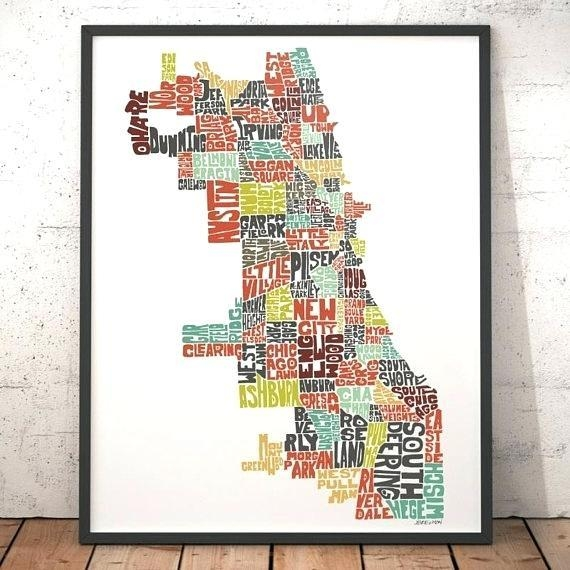 Chicago Map Wall Art Like This Item Chicago Neighborhood Map Wall Throughout Chicago Map Wall Art (Image 15 of 20)