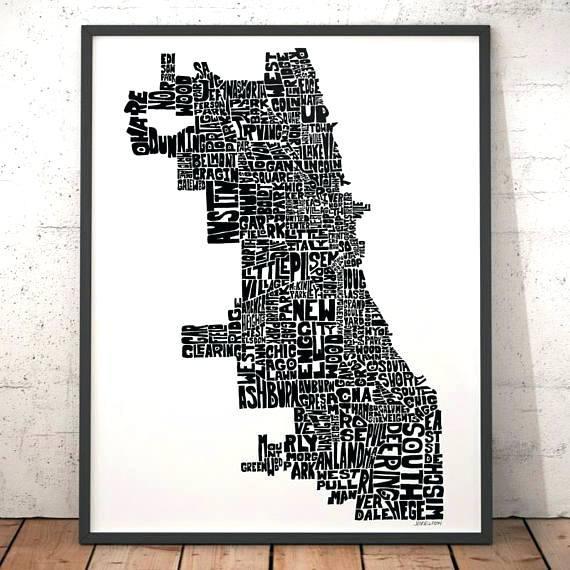 Chicago Map Wall Art Map Art Art Print Typography Map Map Of Pertaining To Chicago Map Wall Art (View 10 of 20)