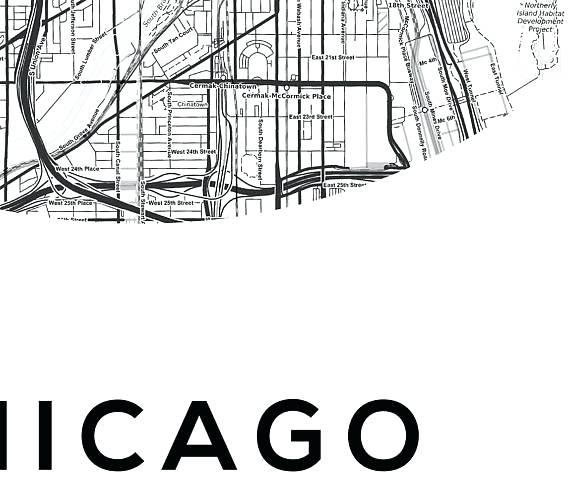 Chicago Map Wall Art Map Poster Us Map Print Street Map Print Map For Chicago Neighborhood Map Wall Art (View 14 of 20)