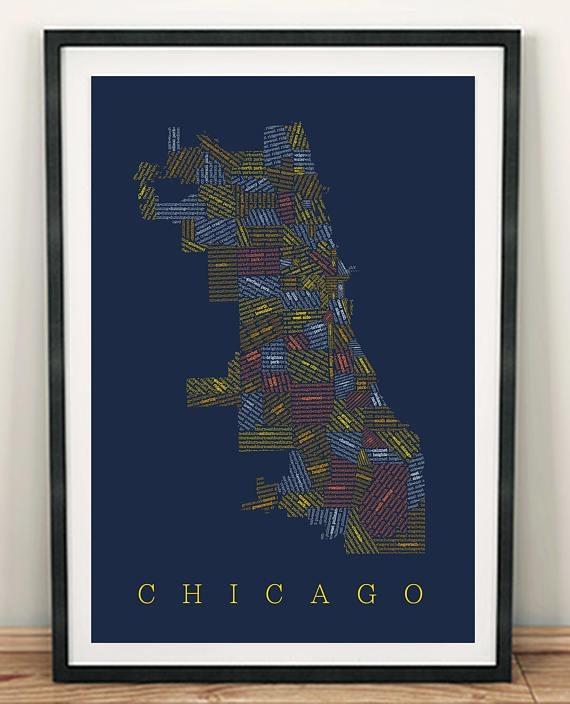 Chicago Neighborhood Map Chicago Map Chicago Art Wall Art With Chicago Neighborhood Map Wall Art (Image 15 of 20)