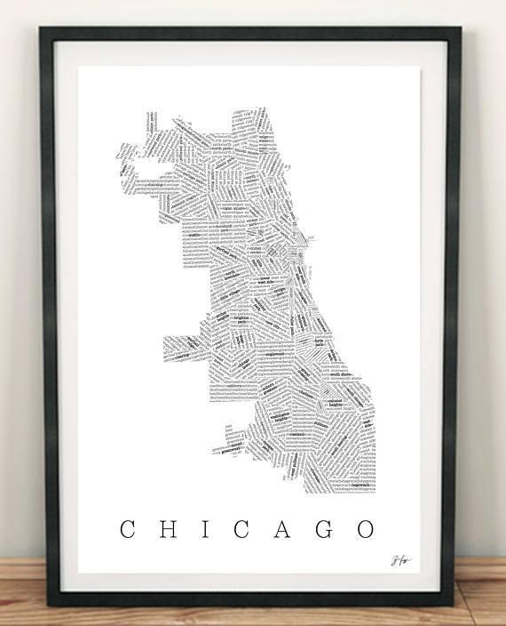 Chicago Neighborhood Map Chicago Map Chicago Art Wall Art With Regard To Chicago Neighborhood Map Wall Art (Image 16 of 20)