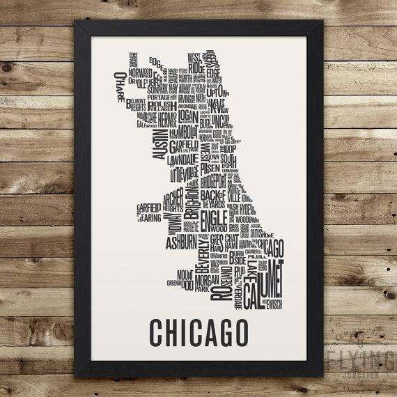 Chicago Neighborhood Map Print Chicago Wall Art Chicago Pertaining To Chicago Neighborhood Map Wall Art (Image 17 of 20)