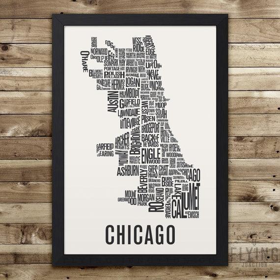 Chicago Neighborhood Map Print Chicago Wall Art Chicago Pertaining To Chicago Neighborhood Map Wall Art (Image 17 of 20)