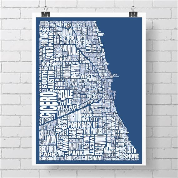 Chicago Neighborhood Map Print Custom Chicago Typography Map Inside Chicago Neighborhood Map Wall Art (Image 18 of 20)