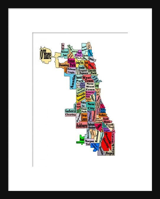 Chicago Neighborhoods Map Print Poster Neightborhoods Inside Chicago Neighborhood Map Wall Art (Image 19 of 20)