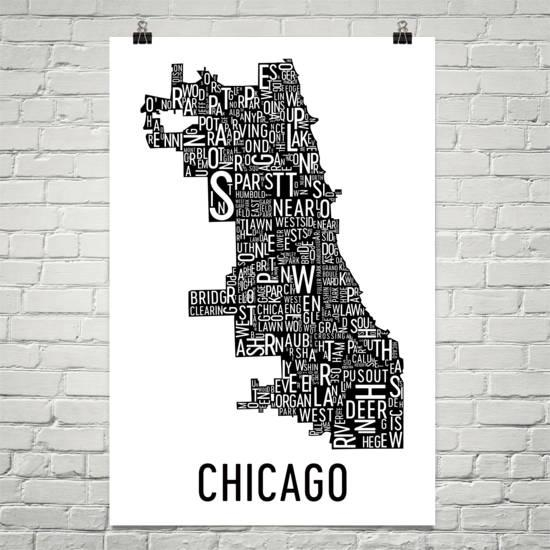 Chicago Typography Neighborhood Map Art City Print Chicago In Chicago Neighborhood Map Wall Art (Image 20 of 20)