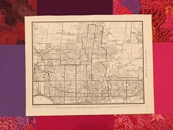 City Of Toronto Map / Vintage Map Decor / City Map Wall Art / With Toronto Map Wall Art (Image 5 of 20)