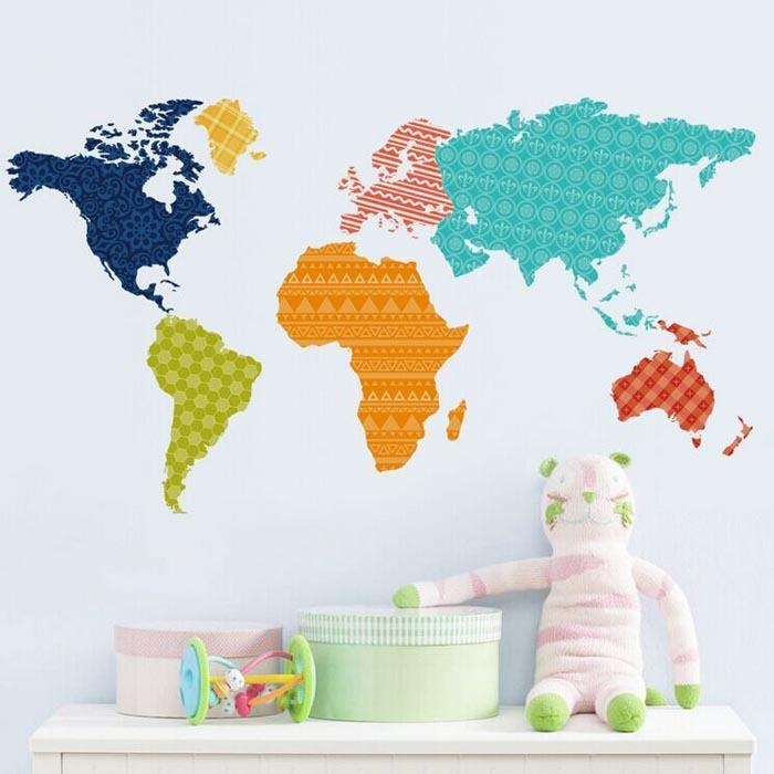 Color World Map Wall Stickers Colorful World Map Sticker Living Regarding World Map Wall Art (Image 4 of 20)