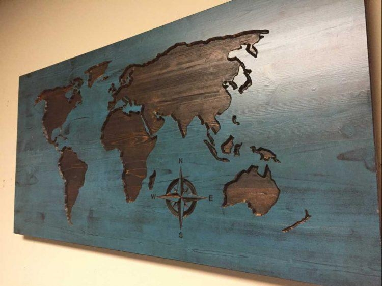 Colors : World Map Wall Art Canada Also Wooden World Map Art As With Map Wall Art Canada (Image 8 of 20)