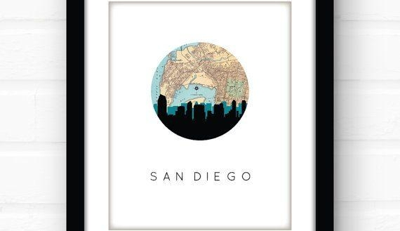 Crafty San Diego Wall Art Chargers Canvas Water Tuscan Map Print With San Diego Map Wall Art (Image 9 of 20)