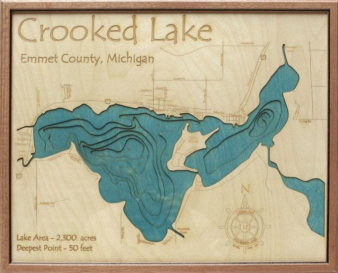 Crooked Lake 3D Depth Map – Grandpa Shorters For Lake Map Wall Art (View 12 of 20)