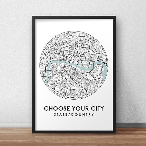 Custom City Print Street Map Art Custom Map Poster Custom Throughout City Prints Map Wall Art (Image 14 of 20)
