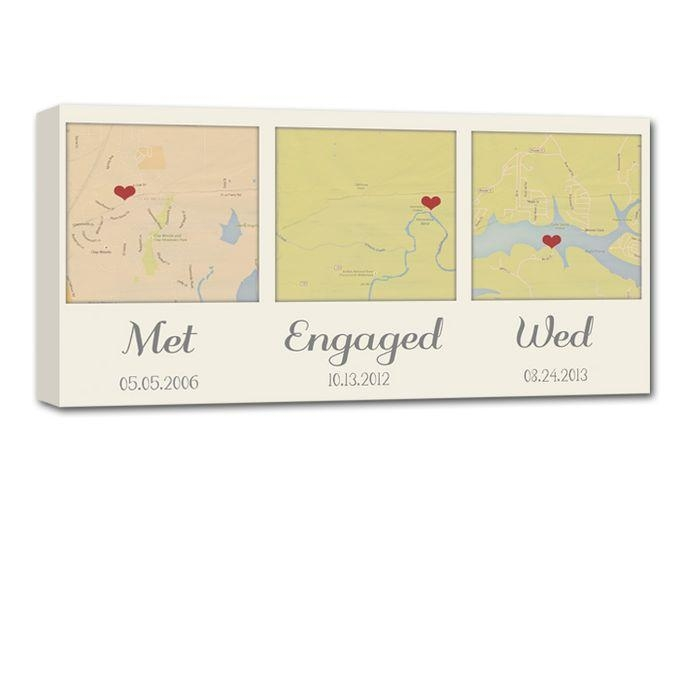 Custom Map Wall Art Your 3 Special Locations Canvas Holiday Gift Throughout Custom Map Wall Art (View 7 of 20)