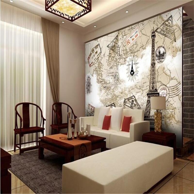 Custom Photo Wall Mural Wallpaper 3D Luxury Quality Hd Paris Tower Intended For Paris Map Wall Art (Image 7 of 20)
