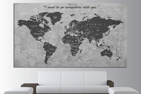 Custom Quote Push Pin World Map Canvas Print World Map Wall Pertaining To Custom Map Wall Art (View 2 of 20)