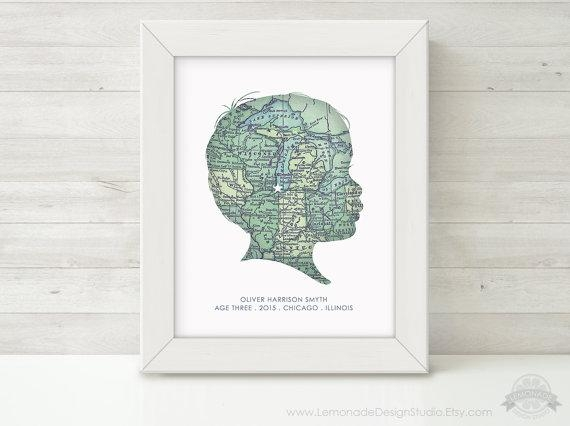 Custom Silhouette, Map Wall Art, Personalized Childrens Silhouette For Personalized Map Wall Art (Image 5 of 20)