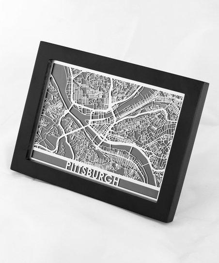 Cut Maps Stainless Steel Pittsburgh Map Framed Wall Art | Zulily Inside Pittsburgh Map Wall Art (Image 10 of 20)