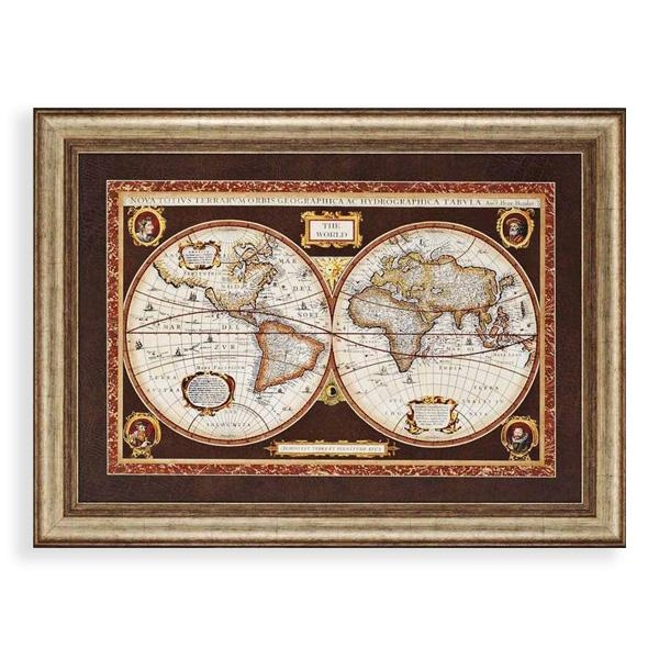 Decorative World Map Framed Wall Art World Maps Wayfair Classic Intended For Framed Map Wall Art (Image 5 of 20)