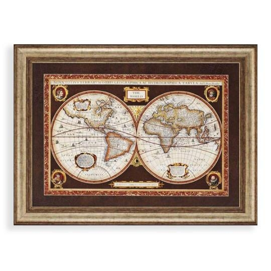 Decorative World Map Framed Wall Art World Maps Wayfair Classic Pertaining To World Map Wall Art Framed (Image 3 of 20)