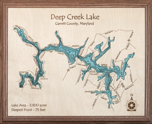 Deep Creek Lake Map Wooden Wall Art With Lake Map Wall Art (View 8 of 20)